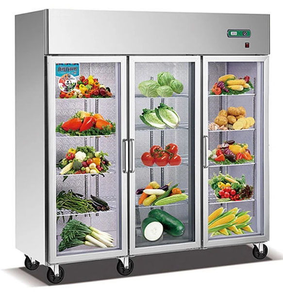 1600L Glass Doors Stainless Steel Commercial Fridge Freezer , Kitchen Appliances Refrigerators With Adjustable Feet