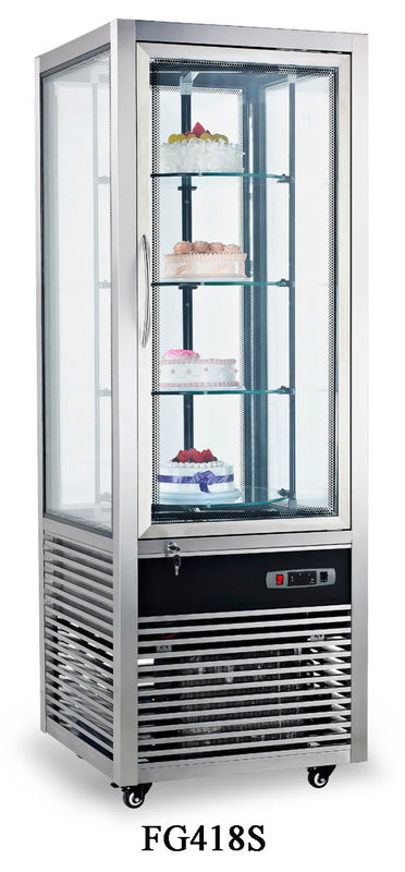 Fan Cooling Fast Cool All-sides Glass Refrigerated Cake Showcase 418L Electricity Power Source