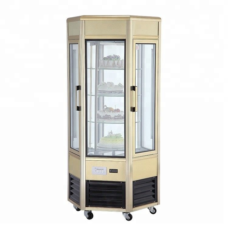 608L Six - Sides Tempered Glass Refrigerated Cake Display Cabinets Cold Storage And Freezing
