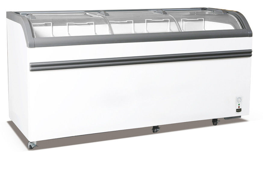 Energy Saving Ice Cream Display Chest Freezer , 828L Curved Glass Door Deep Freezer